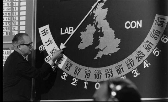 Robert Mackenzie and his swingometer in the 1964 election: BBC