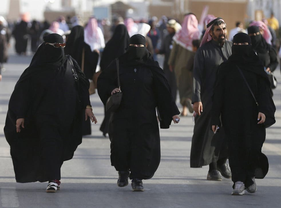 Saudi women arrive to attend Janadriyah Culture Festival on the outskirts of Riyadh in 2016