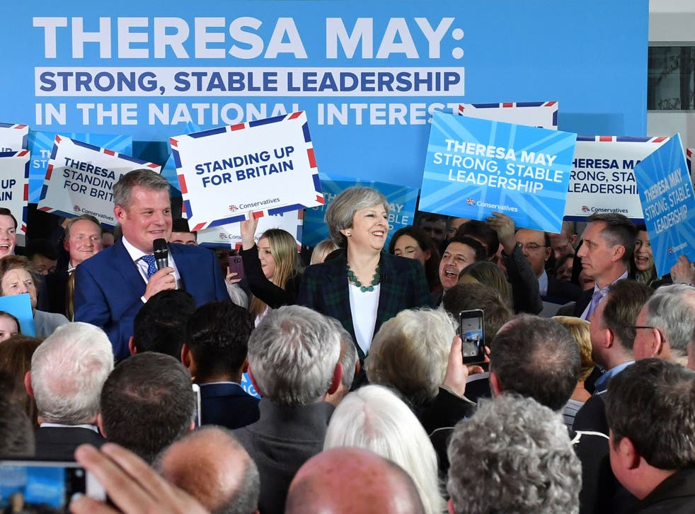 Theresa May speaks to supporters at a campaign event at Shine Centre in Leeds