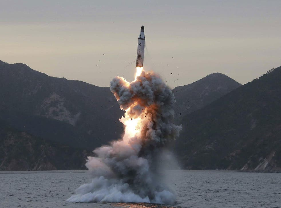A missile launched by North Korea flew about 700km, according to the South Korean military (file photo)