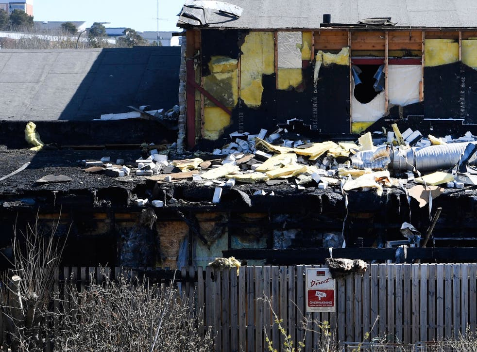 Parts of the Imam Ali Mosque lay destroyed by fire in Jarfalla north of Stockholm