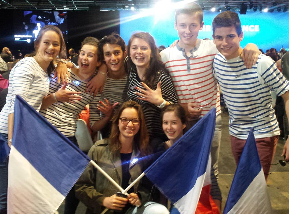 Young supporters at Marine Le Pen's final rally before the second round of voting in the French presidential election