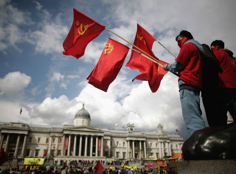 Flying the flag for socialism: demonstrators in Trafalgar Square
