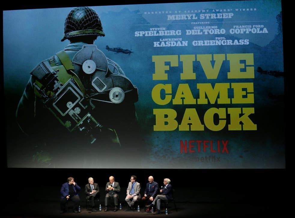 Guillermo Del Toro, Lawrence Kasdan, George Stevens Jr, Mark Harris, producer John Battsek and host Tom Brokaw speak at the world premiere of the Netflix Original documentary series 'Five Came Back'  in New York, 27 March 2017