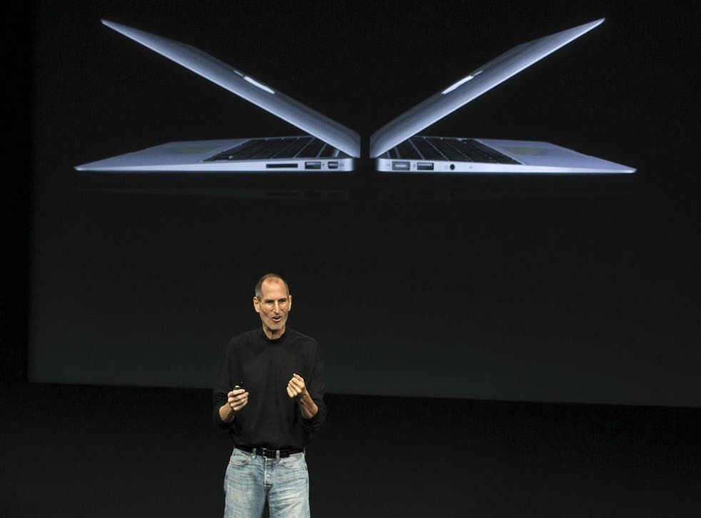Steve Jobs introduces the MacBook Air, which replaced the white plastic computer