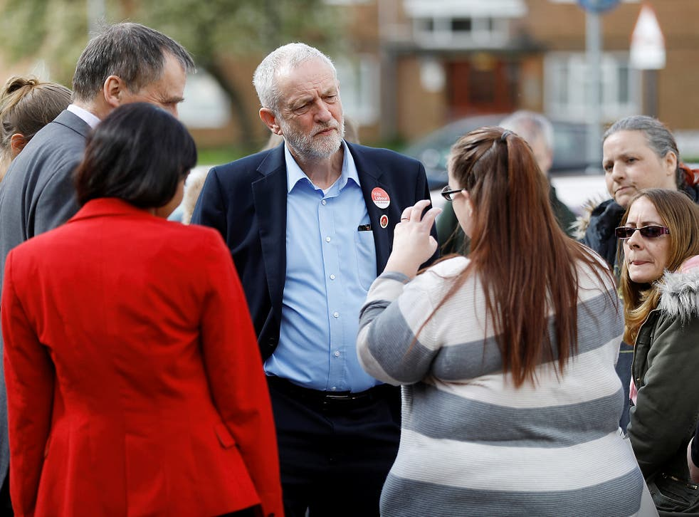 Labour leader Jeremy Corbyn talks to voters in Southampton