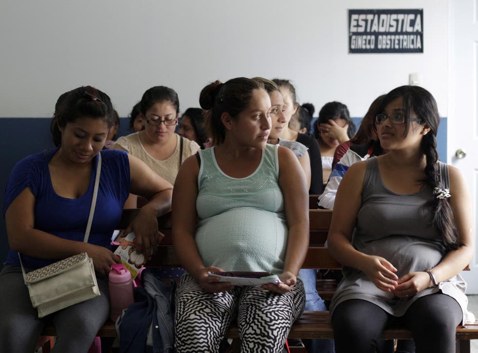 Pregnant women wait for a checkup at the maternity ward of a hospital in Guatemala City