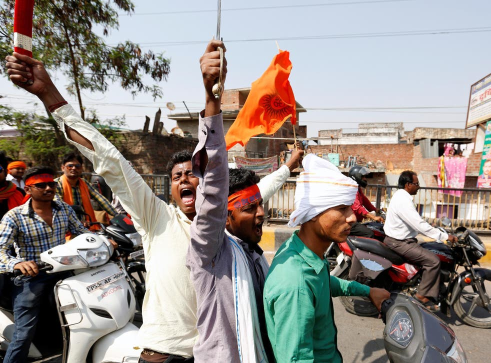 Members of the 'Hindu Yuva Vahin', or Hindu Youth Force, take part in a rally in the city of Unnao