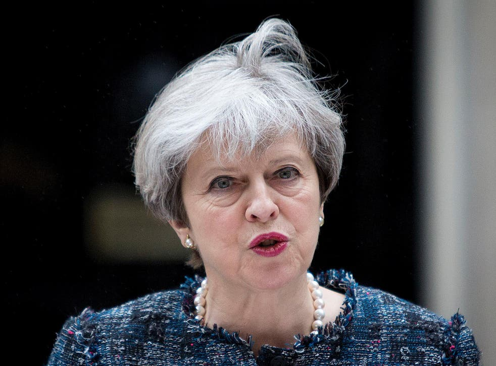 Theresa May makes a statement in Downing Street after visiting Queen Elizabeth II to mark the dissolution of Parliament