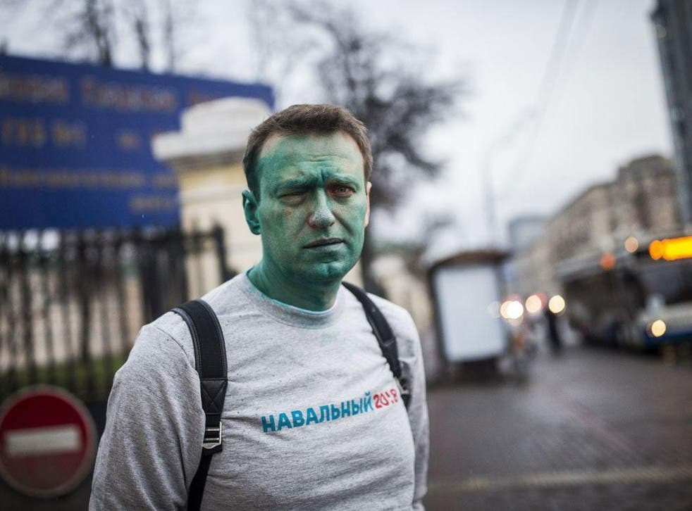 Russian opposition figure Alexei Navalny was attacked by an assailant wielding a green chemical and suffered severe damage to his eye