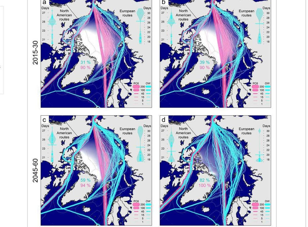 The blue lines show routes open to ordinary shipping, pink lines show ones open to ice-breakers. Maps A and B show two different climate change scenarios for 2015-30, maps C and D show the same scenarios for between 2045 and 2060