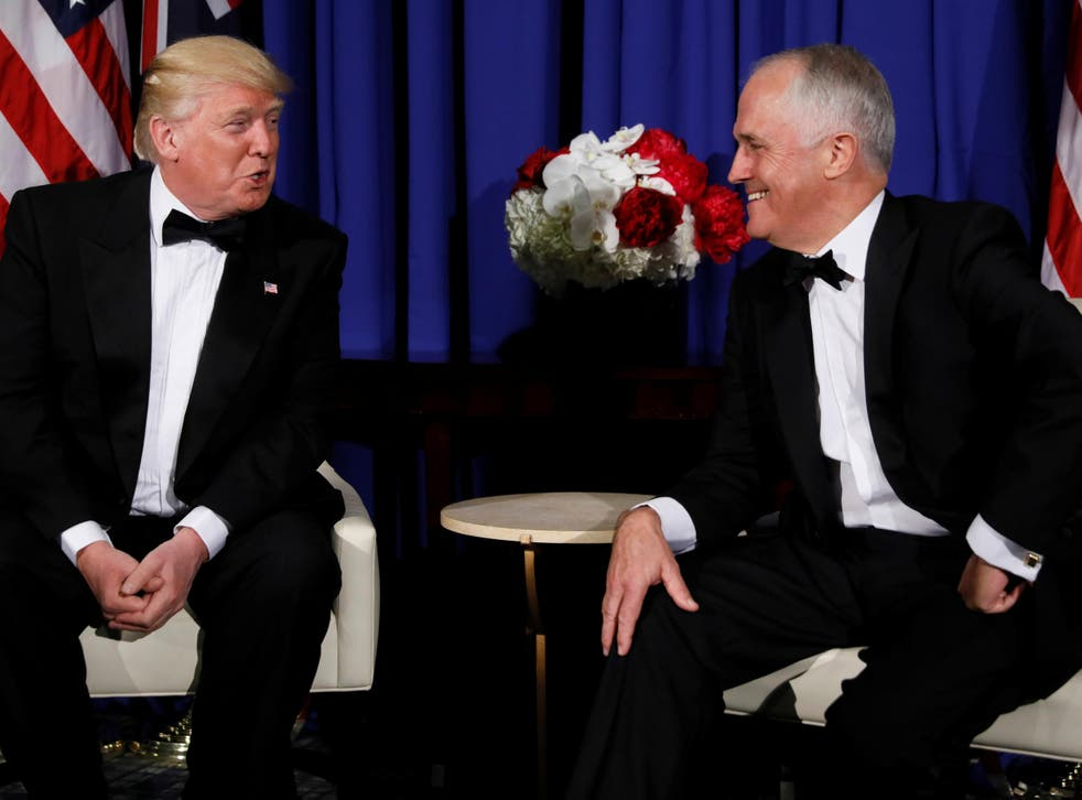 US President Donald Trump and Australia's Prime Minister Malcolm Turnbull deliver brief remarks to reporters as they meet ahead of an event commemorating the 75th anniversary of the Battle of the Coral Sea, aboard the USS Intrepid Sea, Air and Space Museum in New York