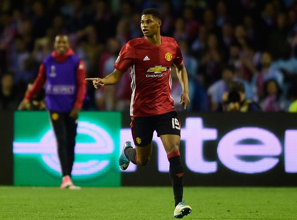 Marcus Rashford celebrates after his free-kick for Manchester United, just seconds after predicting he'd score