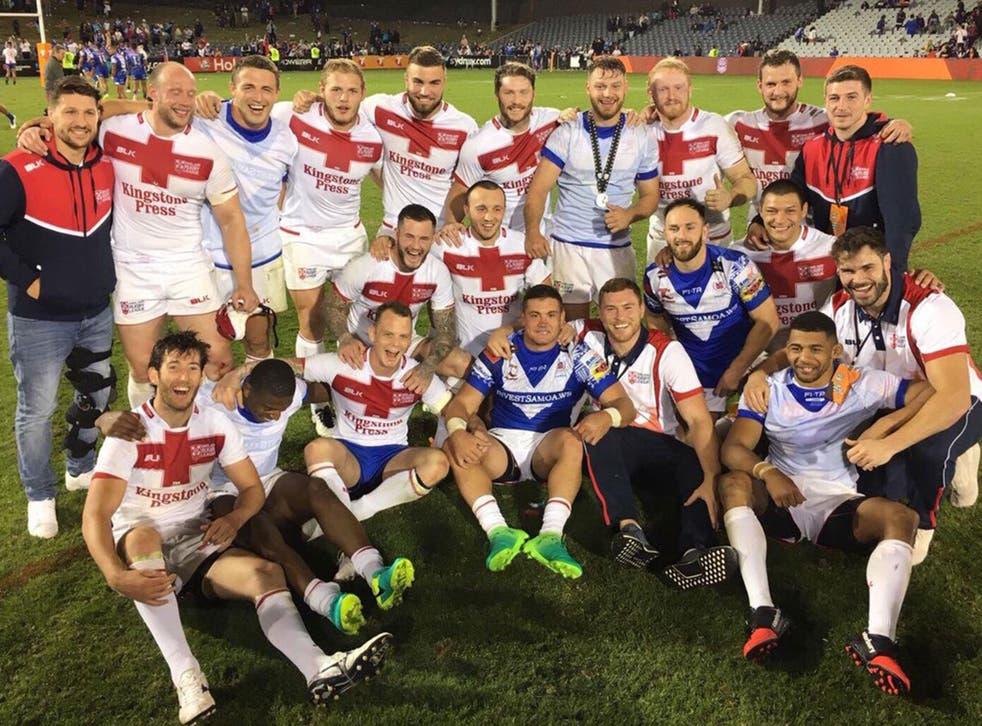 England celebrate their 30-10 victory over Samoa