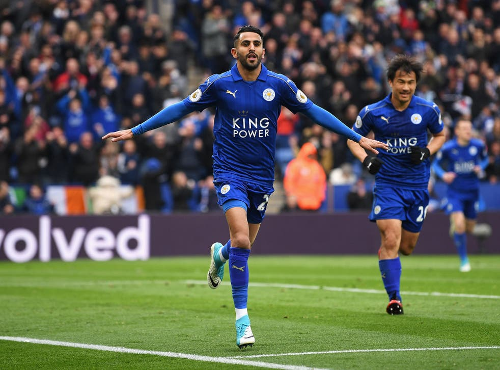 Riyad Mahrez celebrates after putting Leicester 2-0 up against Watford