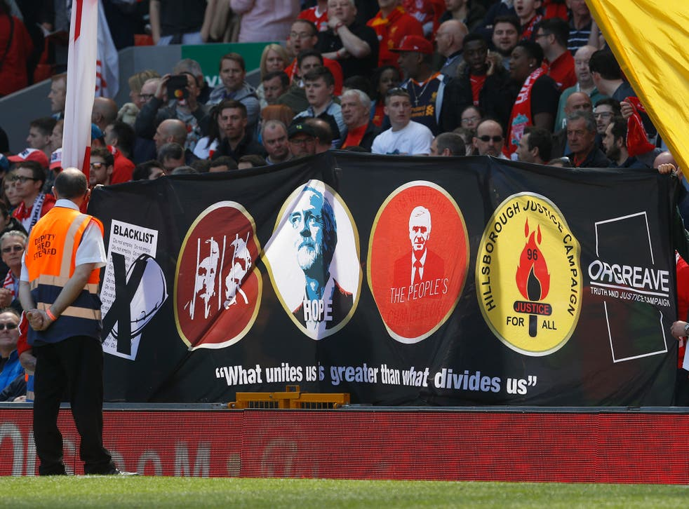 The banner was designed as a show of support to Jeremy Corbyn's Labour