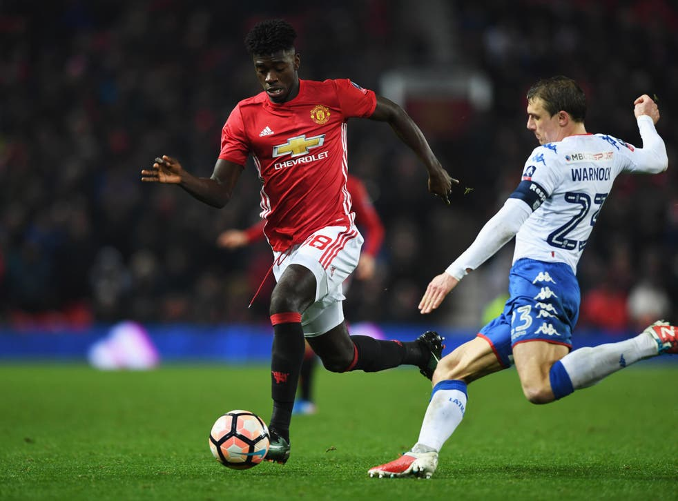 The full-back made his United debut in a 4-0 FA Cup win against Wigan