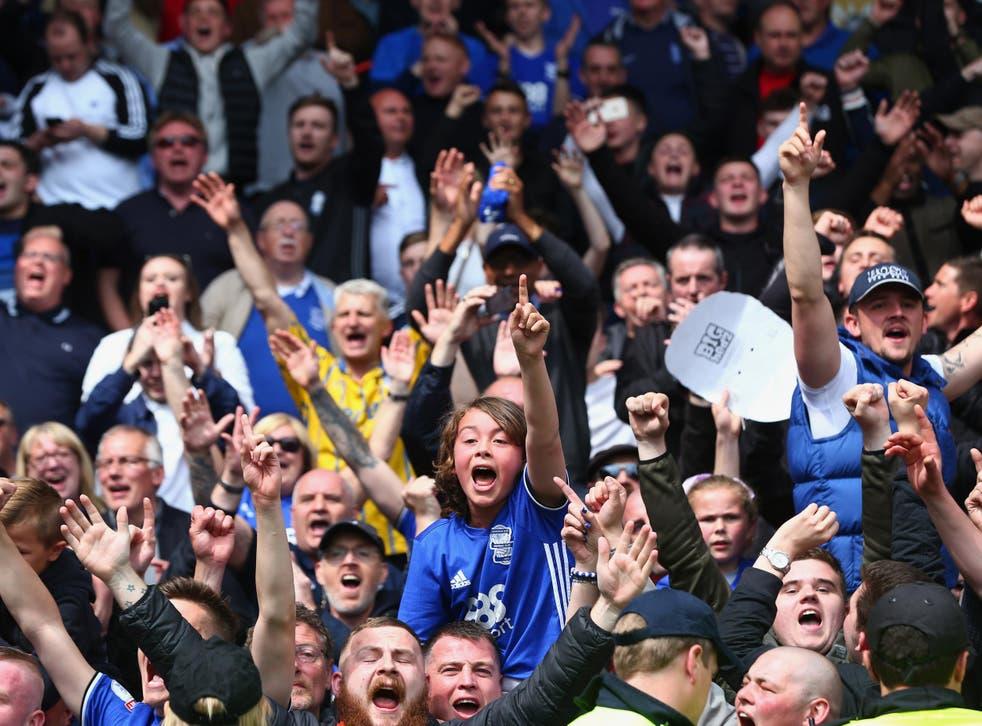 Birmingham fans celebrate their team's one-goal victory