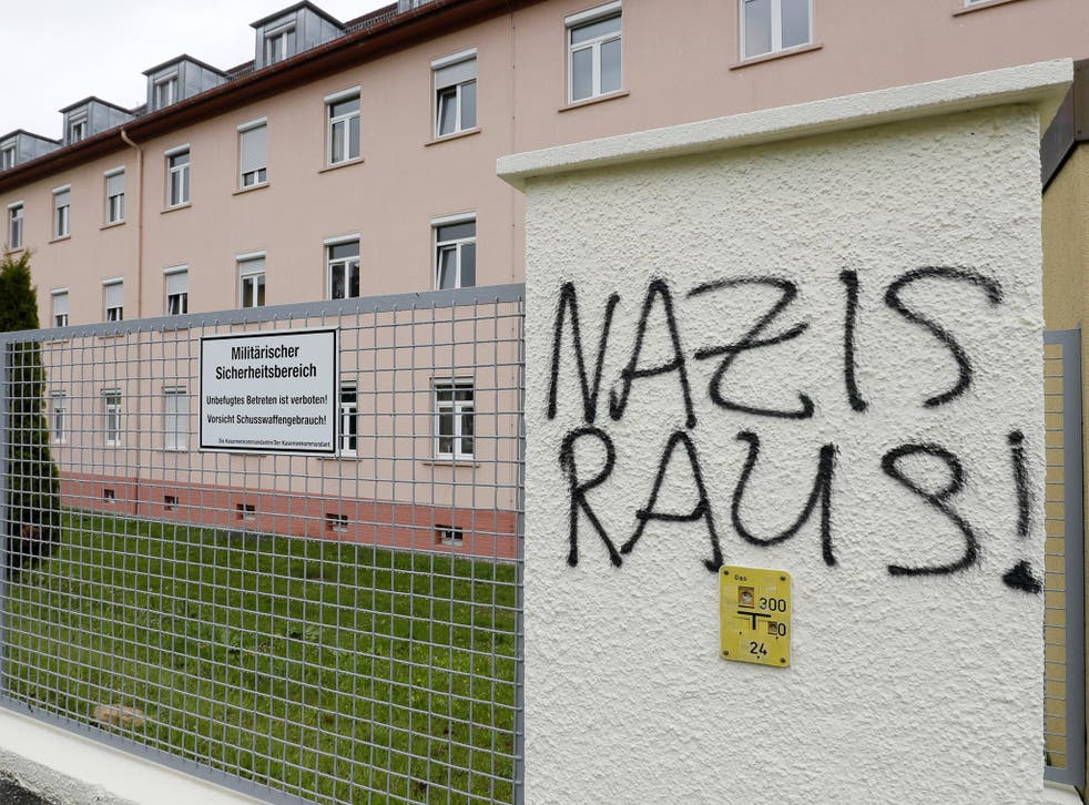 'Nazis out!' daubed on a fence near the main gate of the Fürstenberg barracks in Donaueschingen