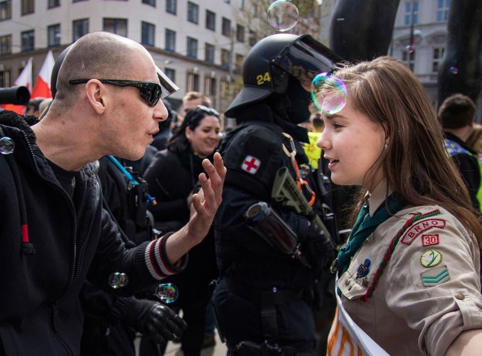 Lucie Myslikova protests against neo-Nazis in Brno