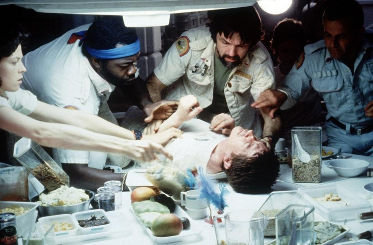 16 Authentic Reactions From Actors Because Their Directors Didn't Tell Them What Was Going To Happen The cast's reactions to the chestburster scene in Alien were genuine as they had no idea what would happen