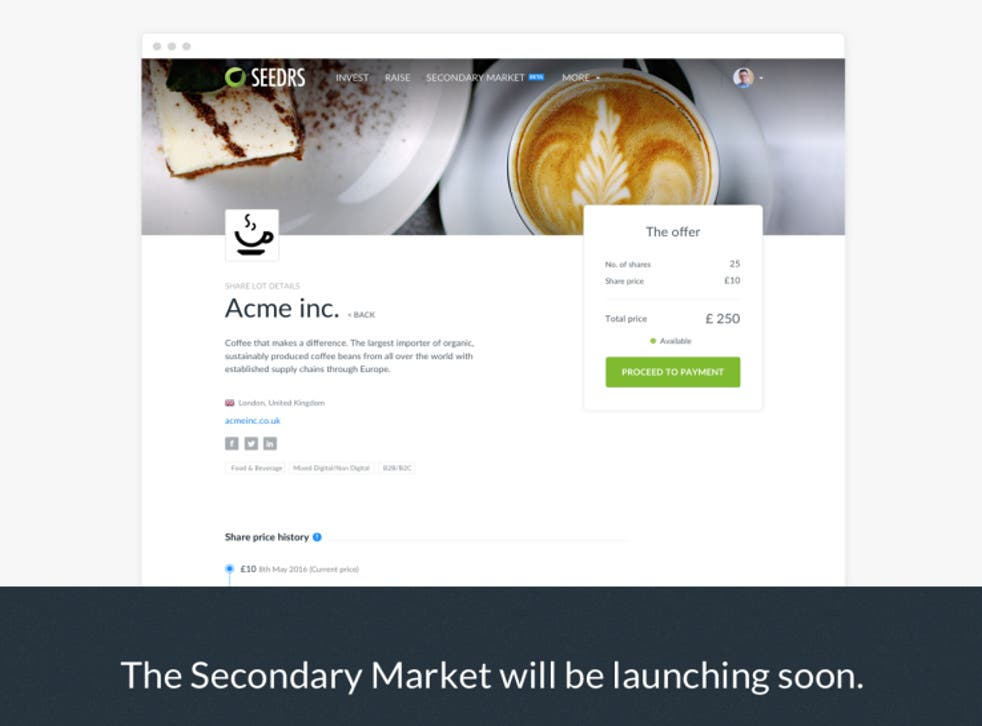 The secondary market will allow current backers of a Seedrs company either to sell their shares to other investors or increase their current stake.