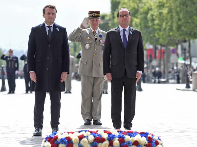 Mr Macron didn't speak at the ceremony