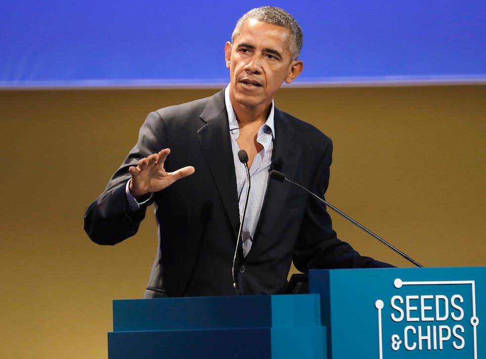 United States former President Barack Obama talks during the 'Seeds&Chips - Global Food Innovation' summit, in Milan