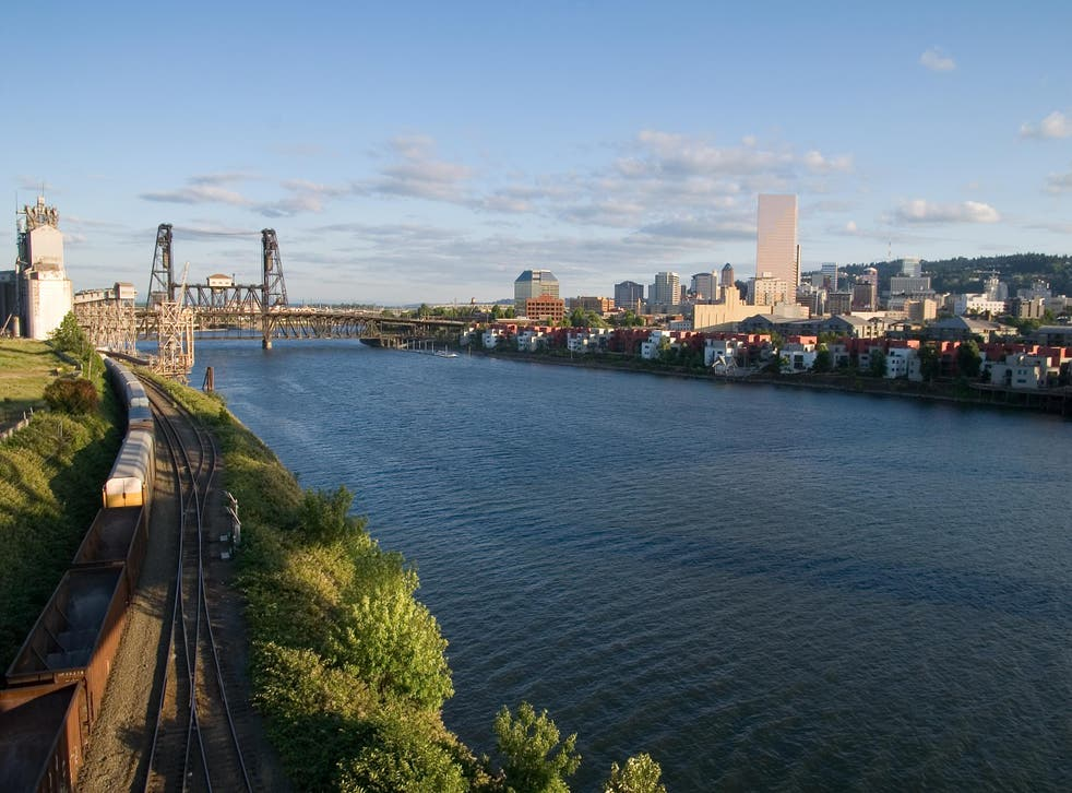 Portland sits on the Willamette River in the north-west corner of Oregon