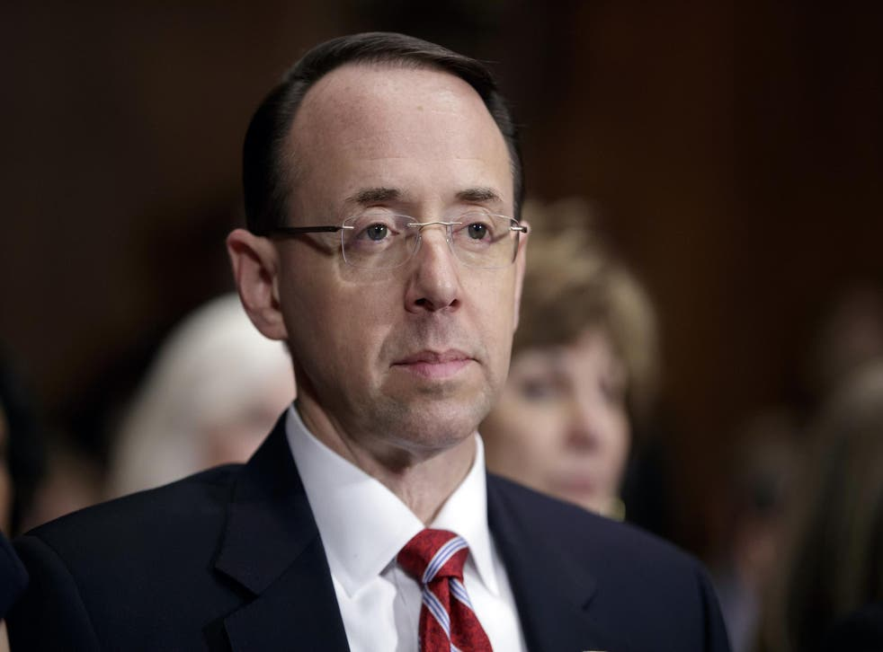 <p>Rod Rosenstein on Capitol Hill during his confirmation hearing before the Senate Judiciary Committee.</p>