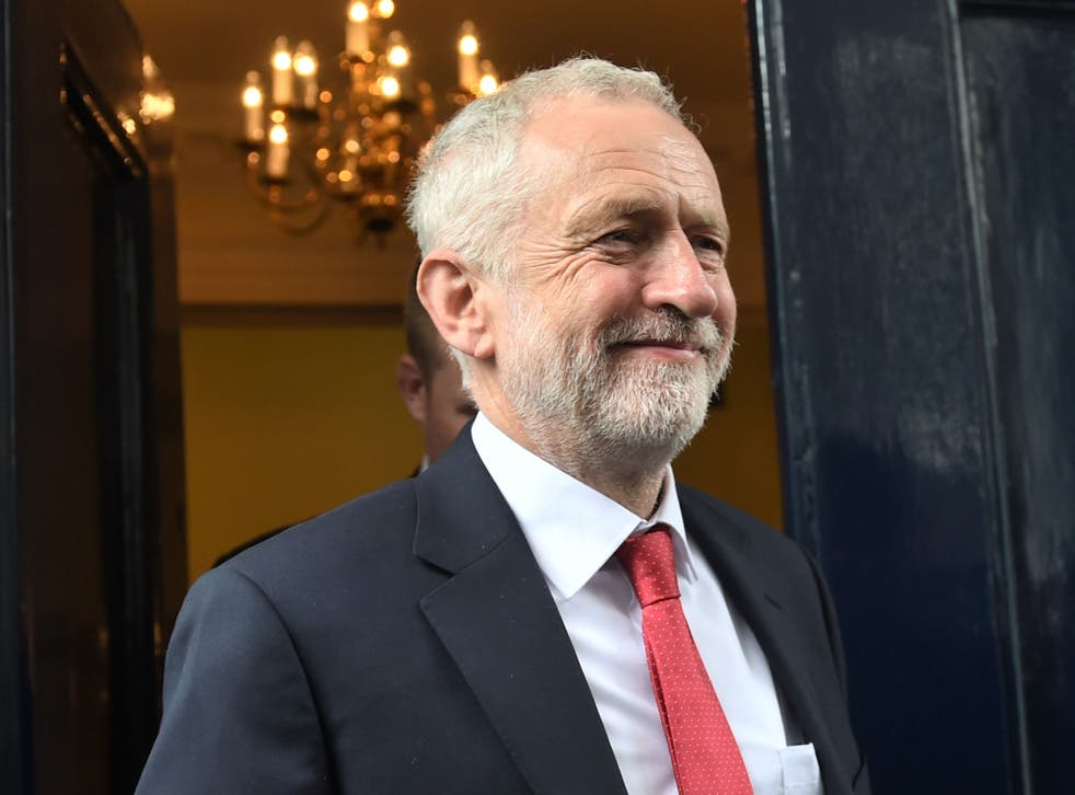 Labour leader Jeremy Corbyn leaves Chatham House in London after speaking about national security and foreign policy