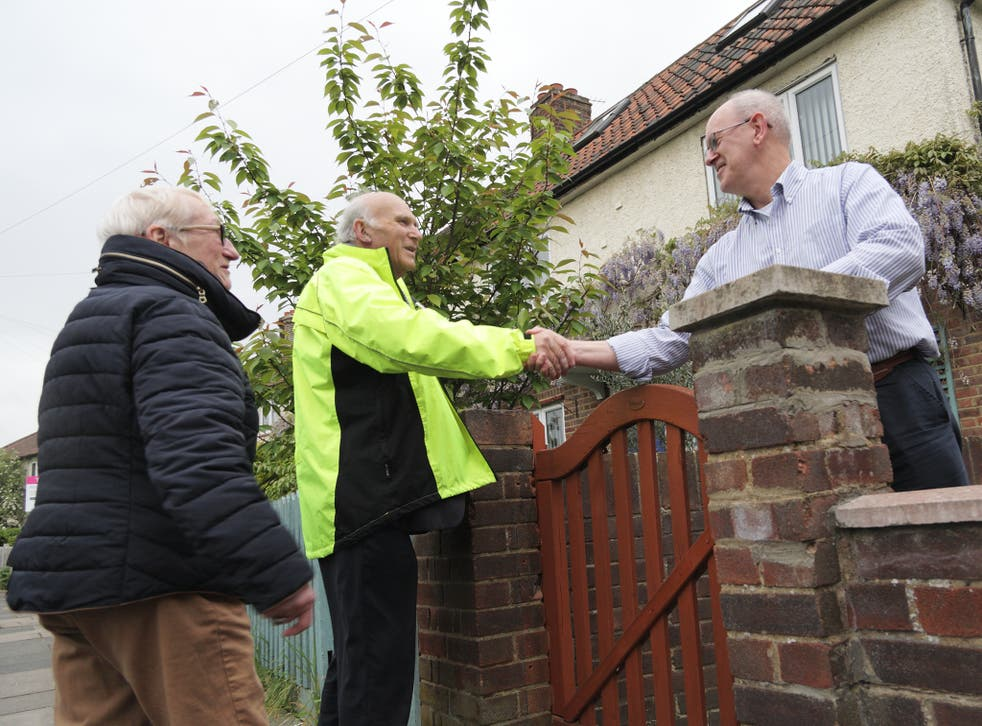 Sir Vince Cable and Cllr Helen Lee-Parsons with Twickenham resident Robert Curtis, 62