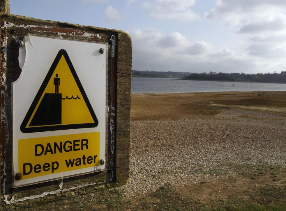 Bewl Reservoir near Lamberhurst in 2012 following one of the driest two-year periods on record in Britain