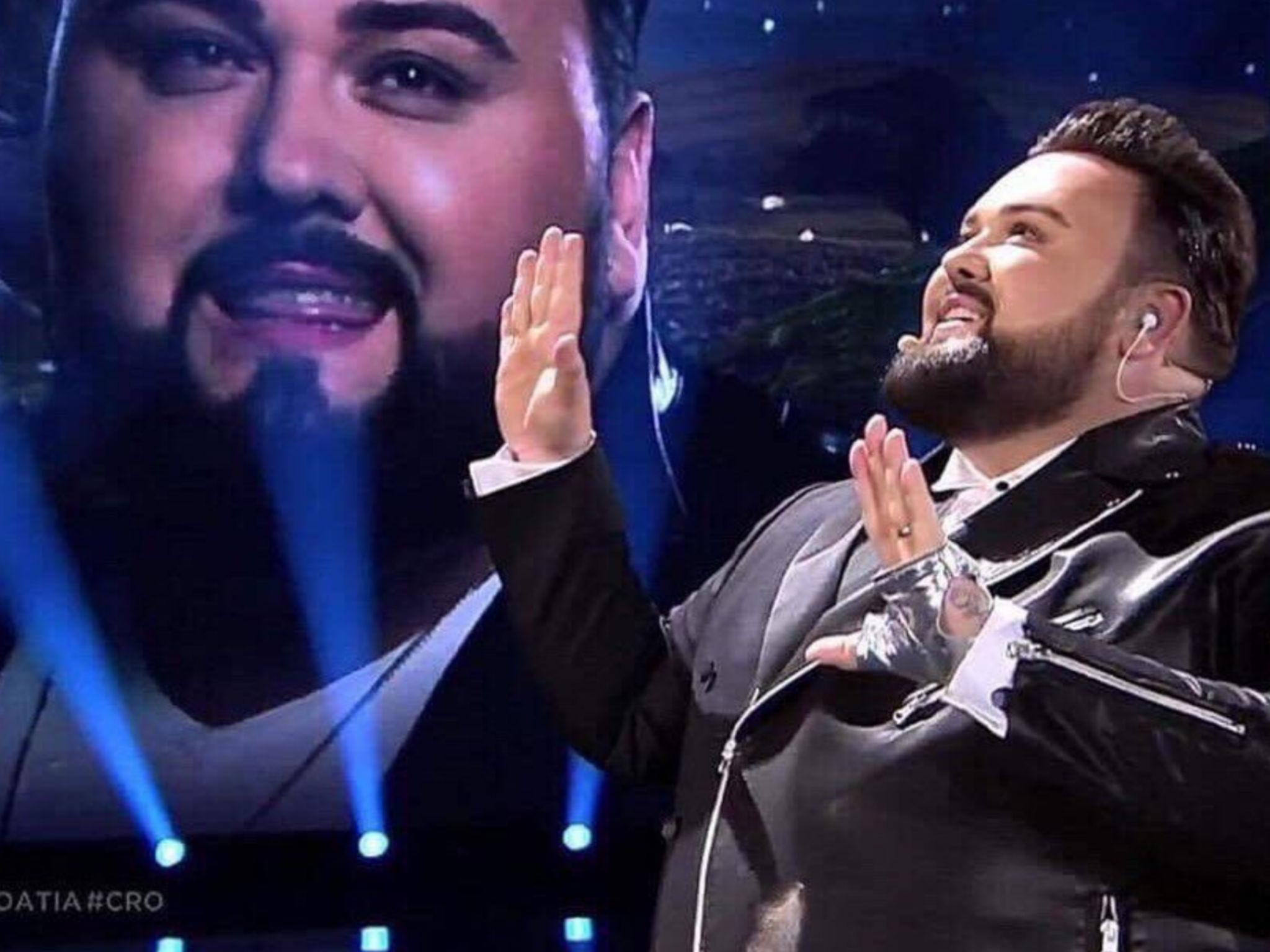 Eurovision 2017 croatias entry does a duet with himself and becomes an instant meme