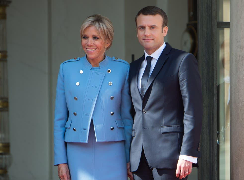 Side by side: Emmanuel and Brigitte Macron at the French President's inauguration at the Elysee Palace on Sunday morning