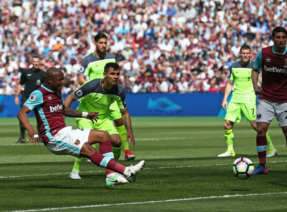 Andre Ayew hit the ball against the upright twice in quick succession