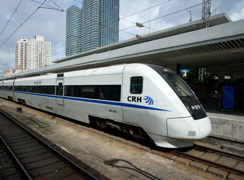 A high-speed train in China's Fujian Province, similar to the one seen in the video