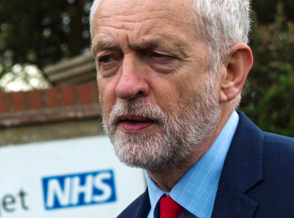 Jeremy Corbyn outside the James Paget Hospital in Great Yarmouth