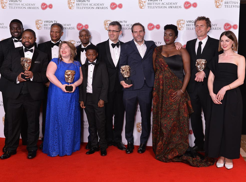 Winners of the Single Drama award for Damilola, Our Loved Boy and presenter Jessica Raine