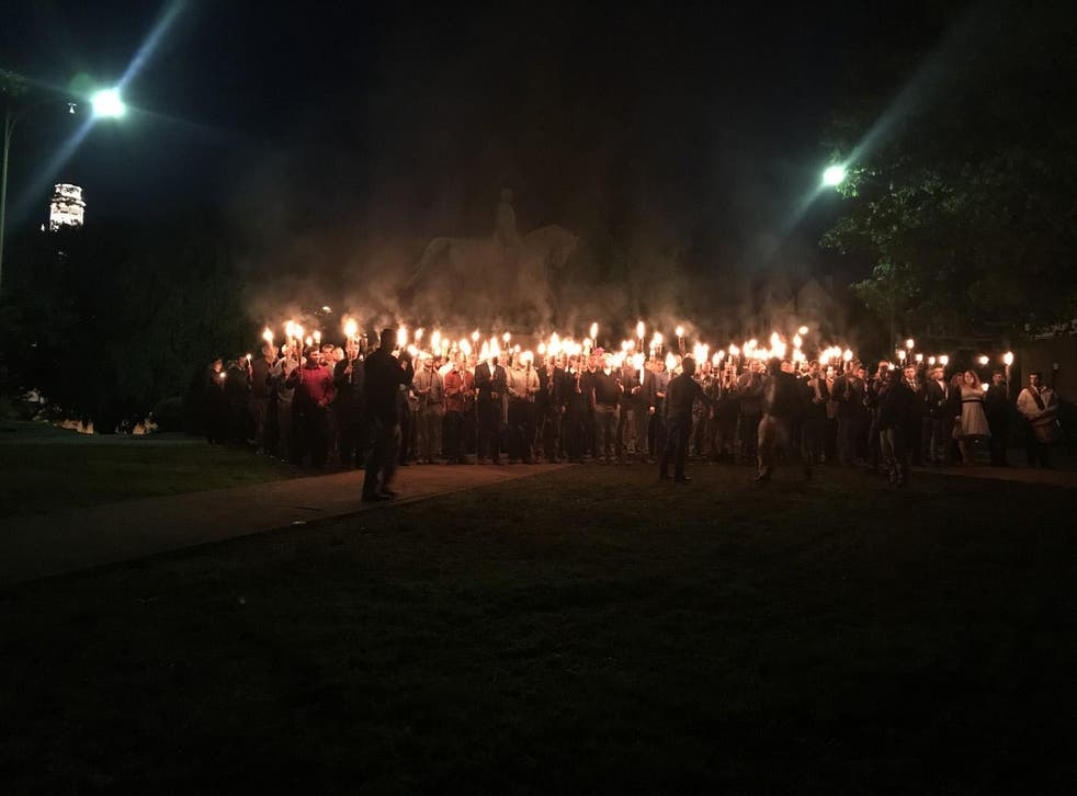 Protesters gather at Lee Park in Charlottesville on Saturday
