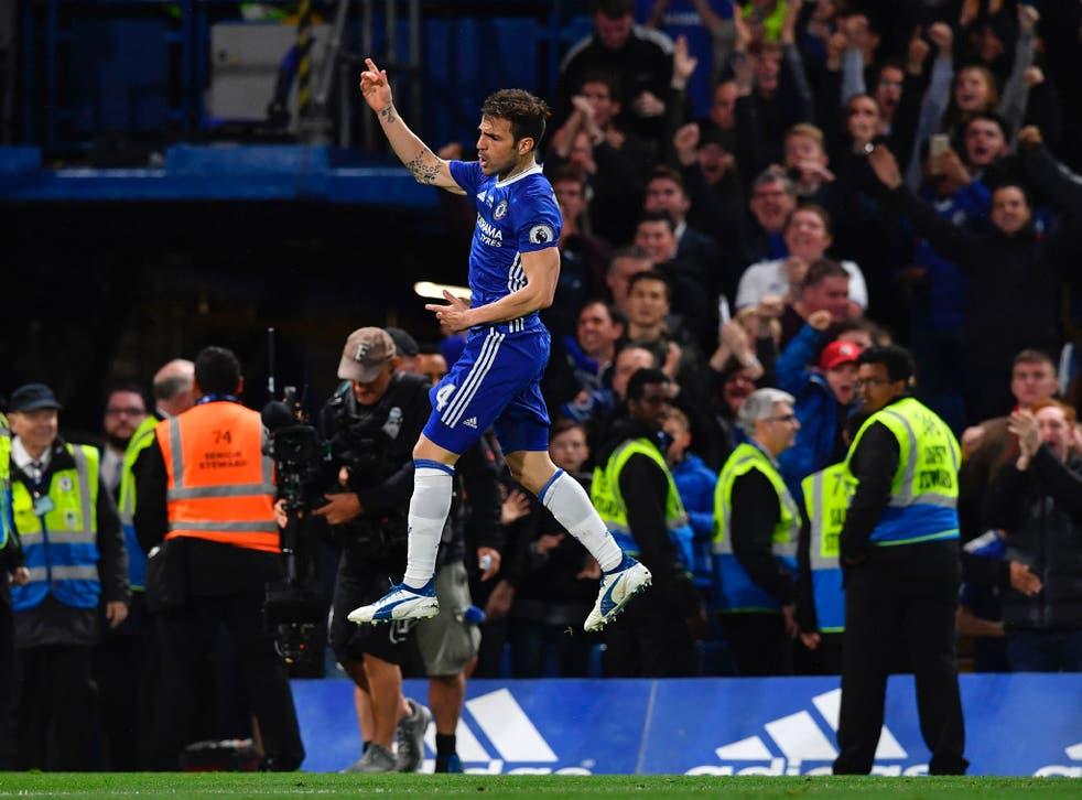 Cesc Fabregas celebrates Chelsea's winner