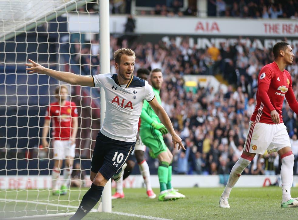 Harry Kane wheels away in celebration after scoring in Sunday's game