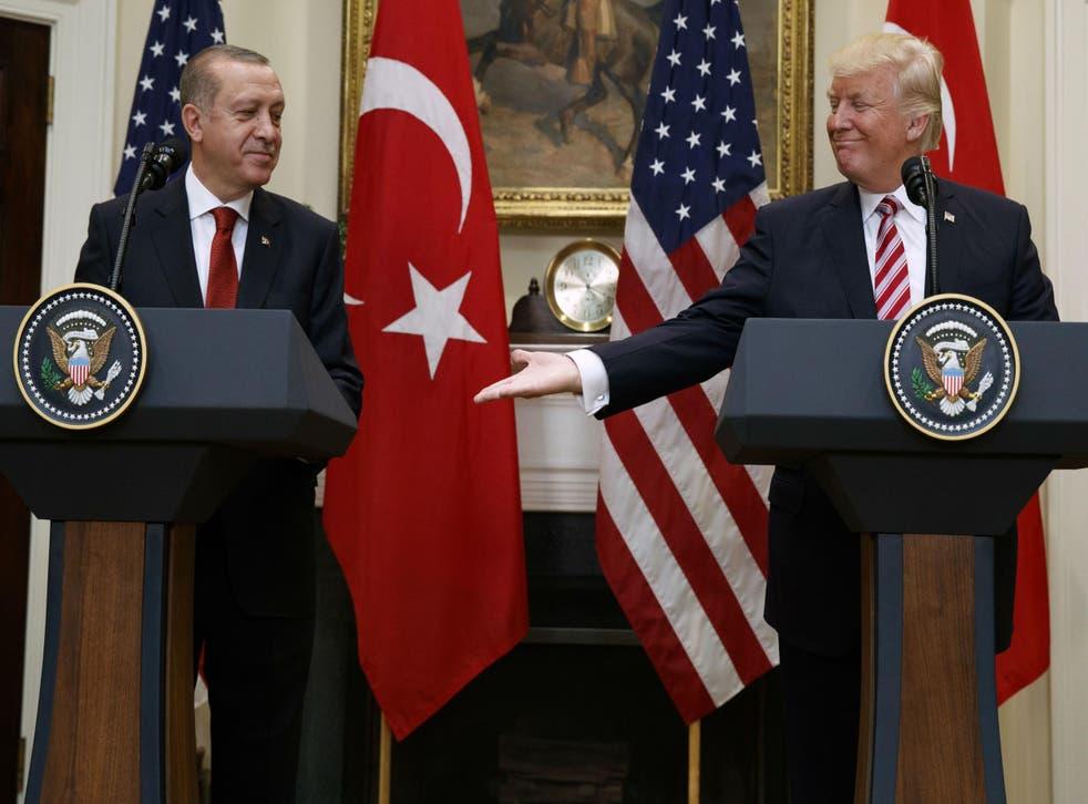 At an appearance Turkish president Tayyip Erdogan Mr Trump said he was fighting terrorism