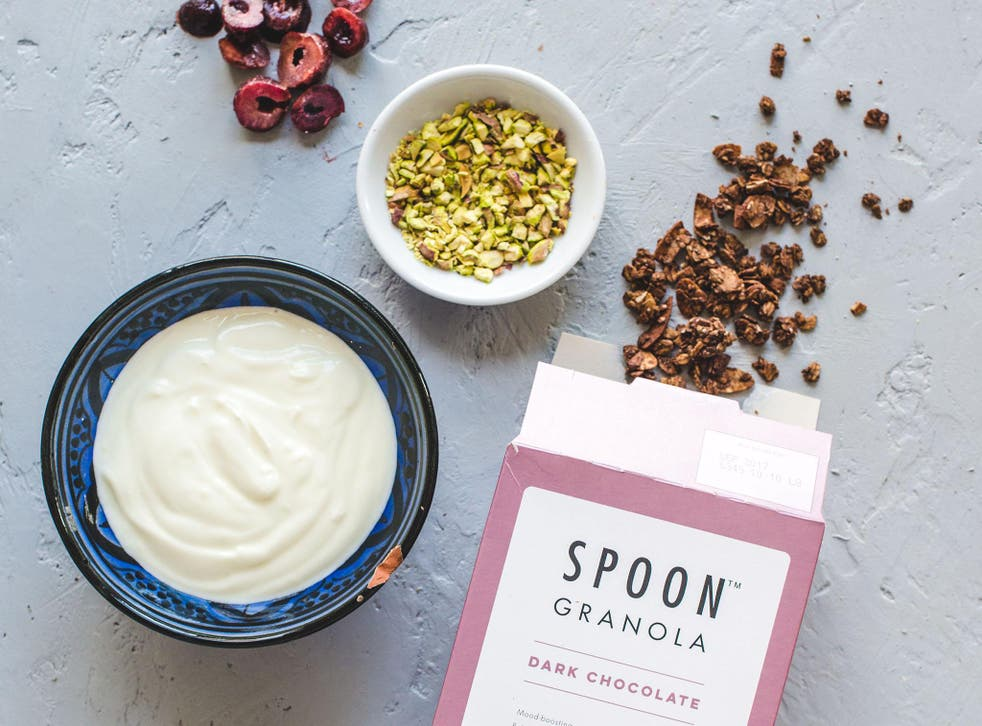 Breakfast companion: the dark chocolate delights of Spoon granola happily go without porridge or yoghurt
