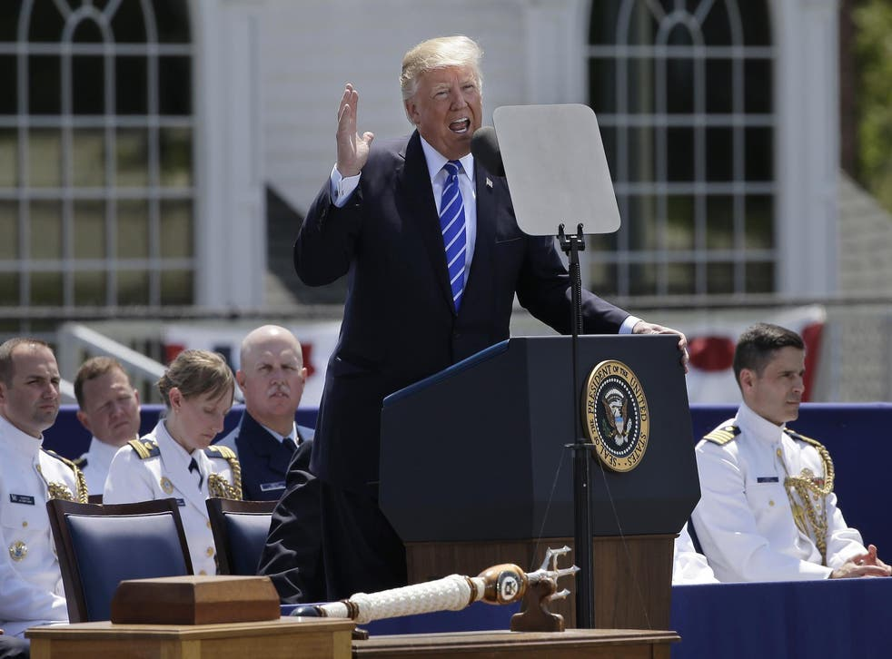 President Donald Trump gives his commencement address at the US Coast Guard Academy