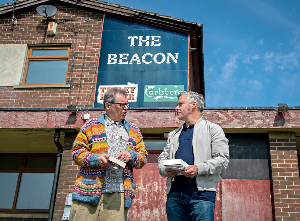 David Barnett with George Costigan, left, outside the Beacon pub which featured in the film and served as the cast and crew's unofficial HQ