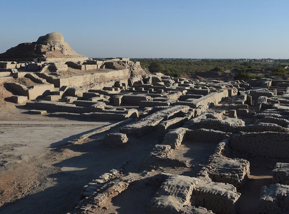 The ruins of Mohenjo Daro where a complex street grid and a sophisticated drainage system was found