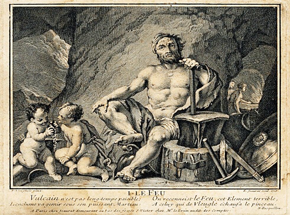 Hephaistos/Vulcan, engraved 1716 by E. Jeaurat