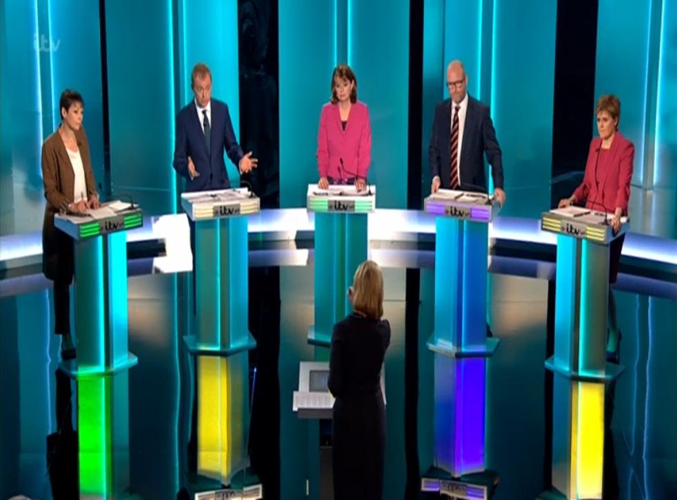 Caroline Lucas, Green; Tim Farron, Lib Dem; Leanne Wood, Plaid Cymru; Paul Nuttall, Ukip; Nicola Sturgeon, SNP