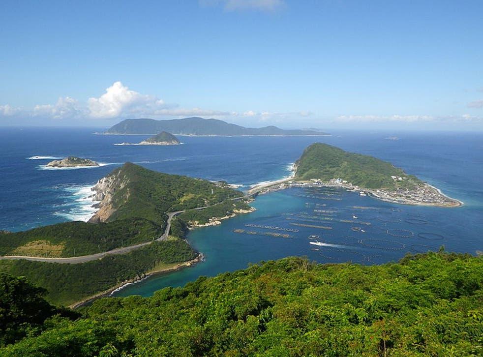 Okinoshima island, seen in the distance behind Kashiwajima islands